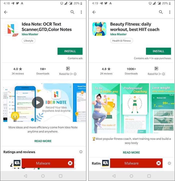 Figure 1. Idea Master's apps display semi-automated ad-clicking behavior