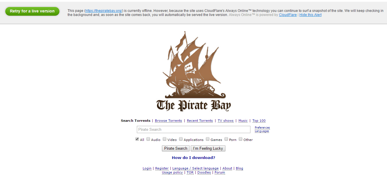 Is The Pirate Bay Down?