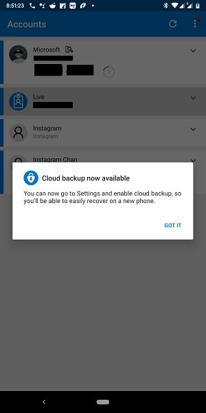 Turn on Cloud Backup for Microsoft Authenticator app on Android & iPhone