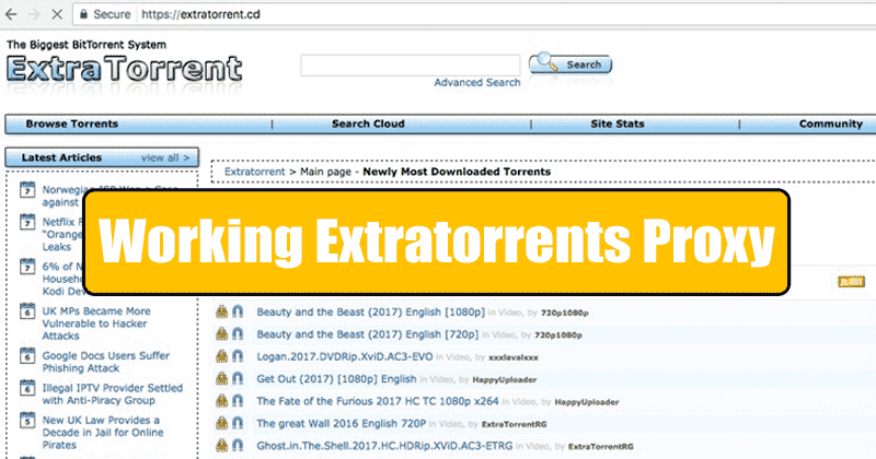 Working Extratorrents Proxy List 2019