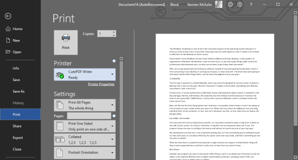 How to convert documents to PDF with CutePDF for Windows 10