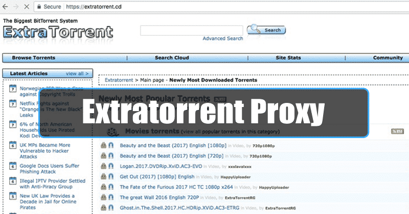 ExtraTorrent Proxy Sites List (100% Working Mirror Sites)