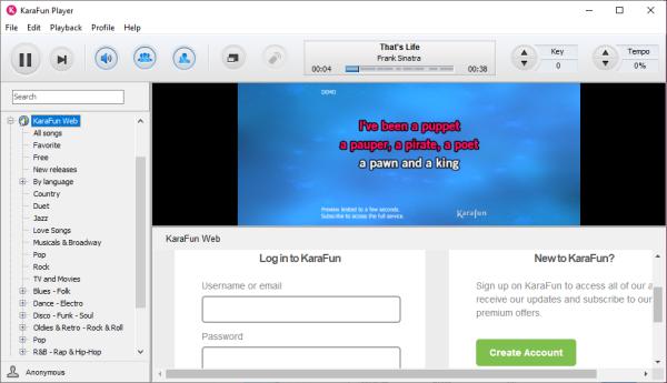 KaraFun Karaoke software free download for Windows 10