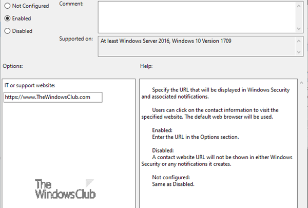 How to customize Support Contact Information in Windows Security