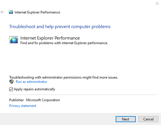 Internet Explorer Performance & Safety Troubleshooters