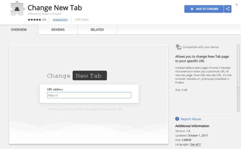 Change New Tab