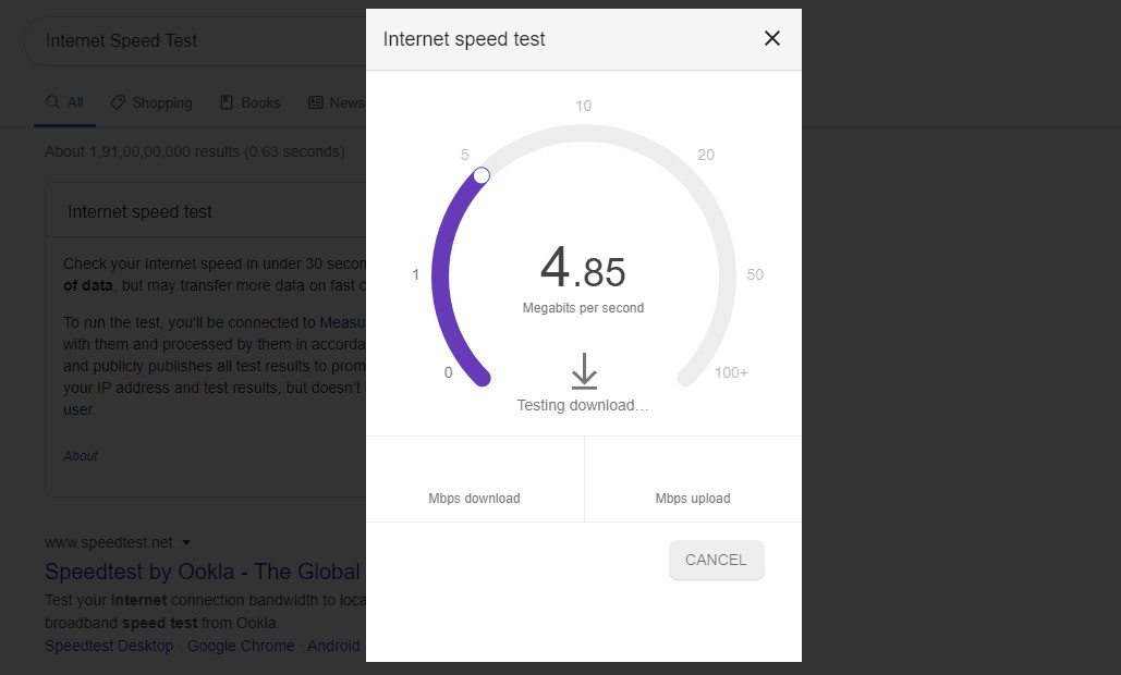 Speed Test From Google Seach
