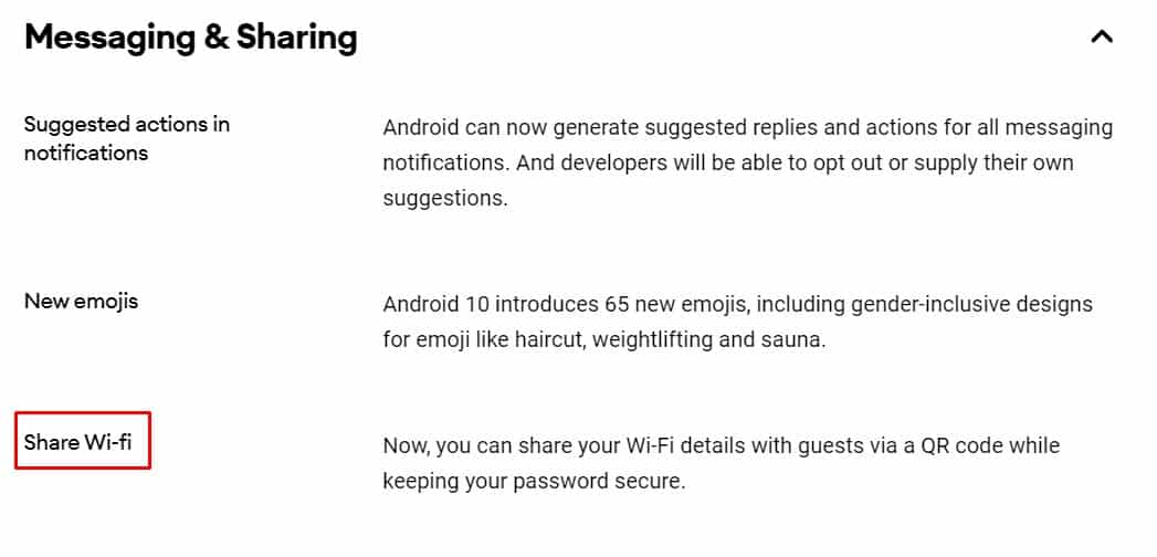 Wi-Fi sharing via QR codes