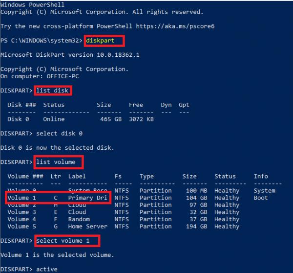 Diskpart command activate partition