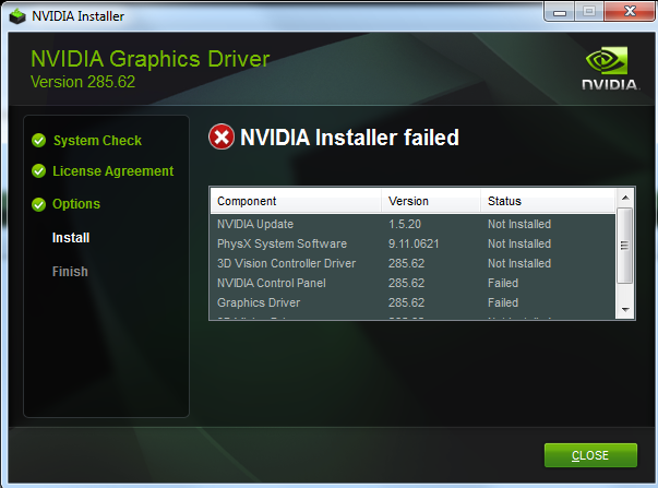 Nvidia Installer Failed Issue