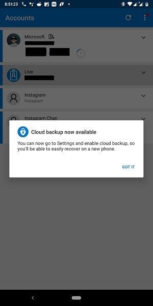 Cloud Backup for Microsoft Authenticator app