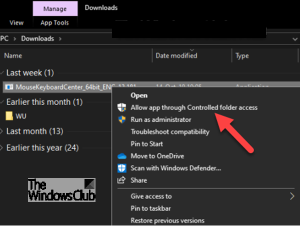 Add Controlled Folder Access commands to Context Menu