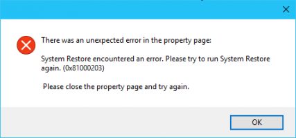 Fix System Restore Error Code 0x81000203 on Windows 10