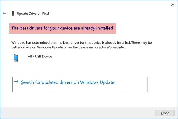 Windows has determined that the best driver for this device is already installed