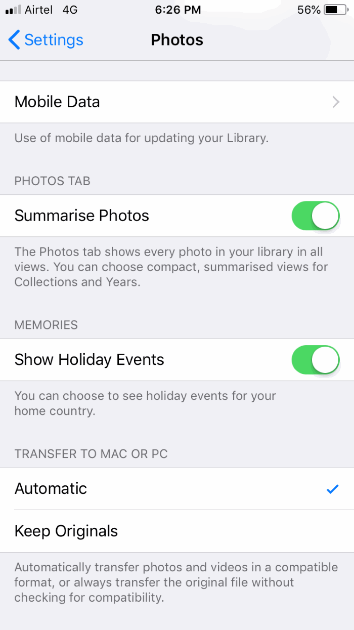 Using iOS Automatic Transfer Mode
