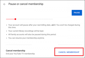 how to cancel youtube tv subscription